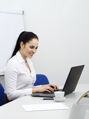 attractive young business woman working with computer in office