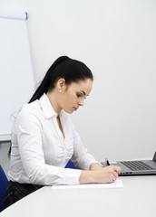 beautiful young business woman writing in office