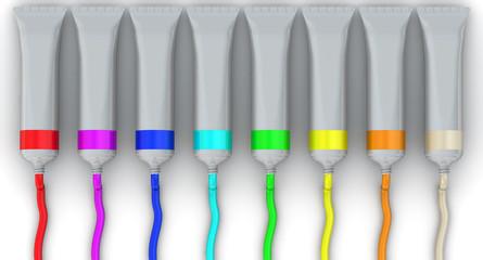 Открытые тюбики с краской