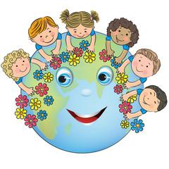 Children hugging planet Earth