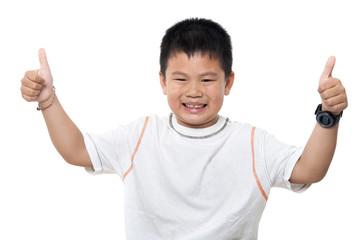 Asian boy thumbs up