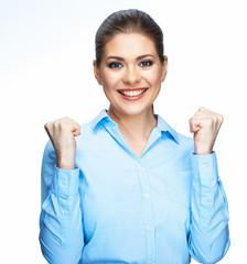 Professional business woman portrait. White background