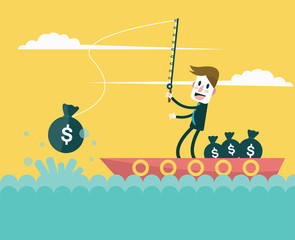 Businessman fishing money. investment concept.