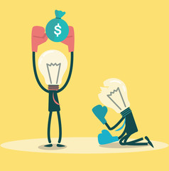 Ideas winner get money. Business competition.vector