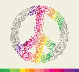 Rainbow peace symbol card.