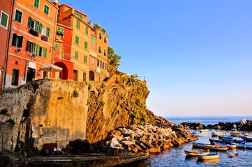 Warm colors of a Cinque Terre village at sunset, Italy
