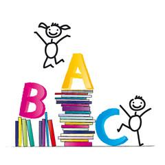 ABC - Fröhliche Kinder lesen Bücher