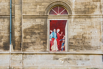 Paintings on the side wall in  Opera Theatre in Avignon
