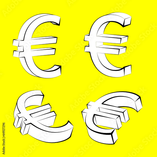Set of Euro currency icons on yellow backgroun