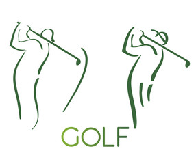 Green golf icons silhouette isolated on white