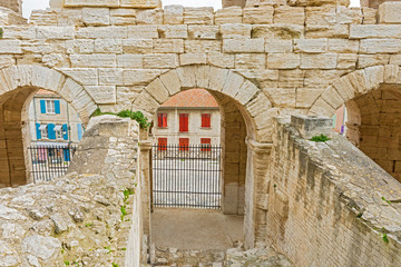 On of the entrances to Roman amphiteathre in Arles, France.