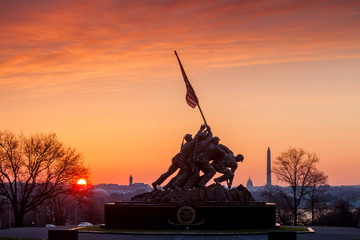 Iwo Jima Memorial Washington DC USA at sunrise