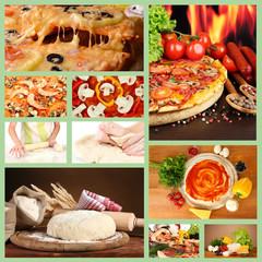 Collage of preparing pizza