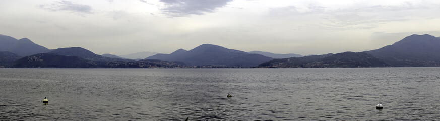 Lake Maggiore springtime panorama color image