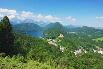 View of the Alpsee and Hohenschwangau, Germany