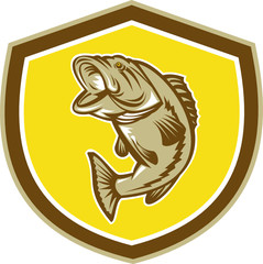 Largemouth Bass Jumping Shield Retro