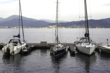 Sailorboat harbour, Lake Maggiore, color image