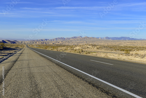 Driving on Remote Road in Desert, Southwestern USA