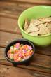 pico de gallo and tortilla chips