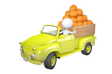 Little man transports oranges by the truck
