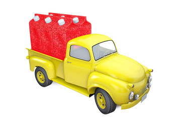 Small lorry with packing of strawberry juice