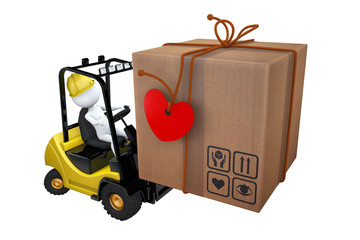 White little man loads a parcel on a loader