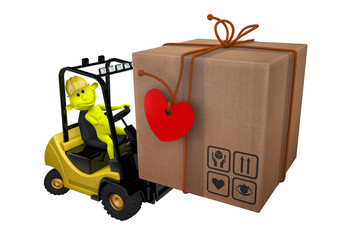 Yellow little man loads a parcel on a loader