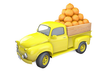 Yellow lorry with ripe orange