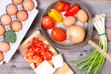 Preparing ingredients for a tasy omelette