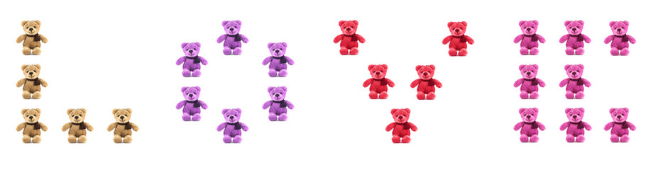 TEDDY BEAR four color with LOVE character on white background