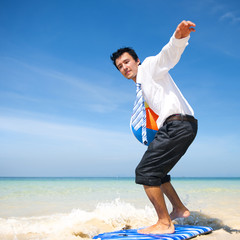 Businessman relaxing on Vacation