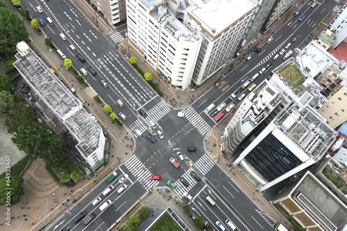 Foto op Plexiglas Japan 大都会の交差点イメージ(俯瞰撮影)