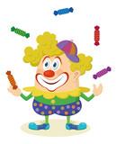 Circus clown juggling candies poster