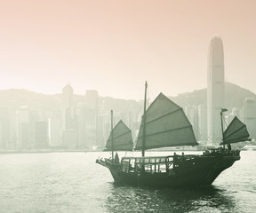 Sailing Victoria Harbor in Hong Kong