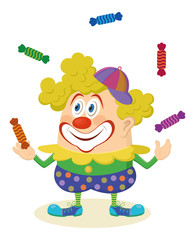 Circus clown juggling candies