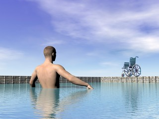 Handicapped man at the swimming pool - 3D render