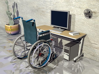 Wheelchair at office - 3D render