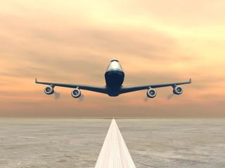 Plane landing - 3D render