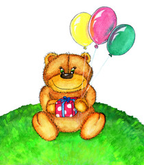 Teddy bear with balloons isolated