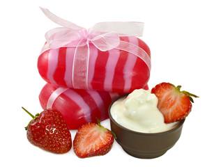 Handmade soap with strawberry and milk cream