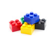 canvas print picture - Lego , Plastic building blocks on white background