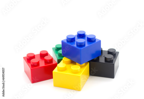 canvas print picture Lego , Plastic building blocks on white background