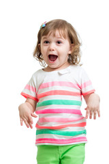 happy playful child girl on white background