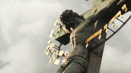The Crucifixion. Christian cross with Jesus Christ crucified