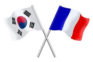 Drapeaux : Corée du sud, France