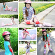 Collage of photos with girl in roller skates