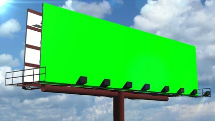 billboard with green screen and moving clouds