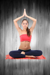 Beautiful girl fly and meditating in yoga pose