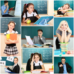 School time collage close-up