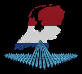 Arrow of people with Netherlands map flag illustration